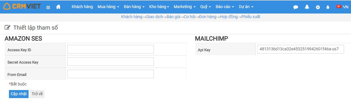 Tham số gửi email amazon/ mailchimp
