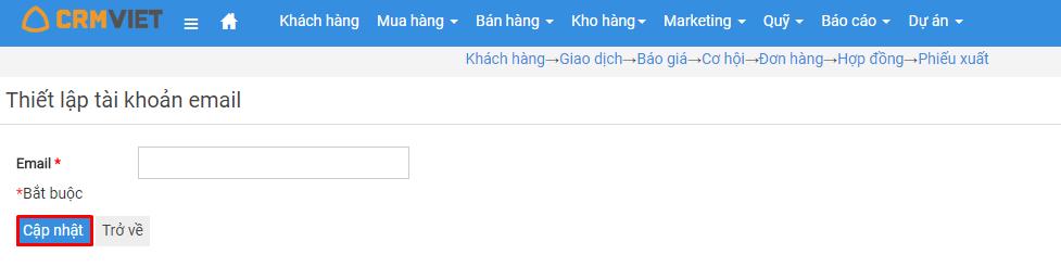 Thiết lập tài khoản email