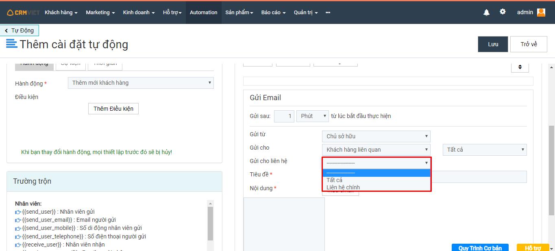 Tùy chọn thiết lập để có gửi cho liên hệ của khách hàng hay không