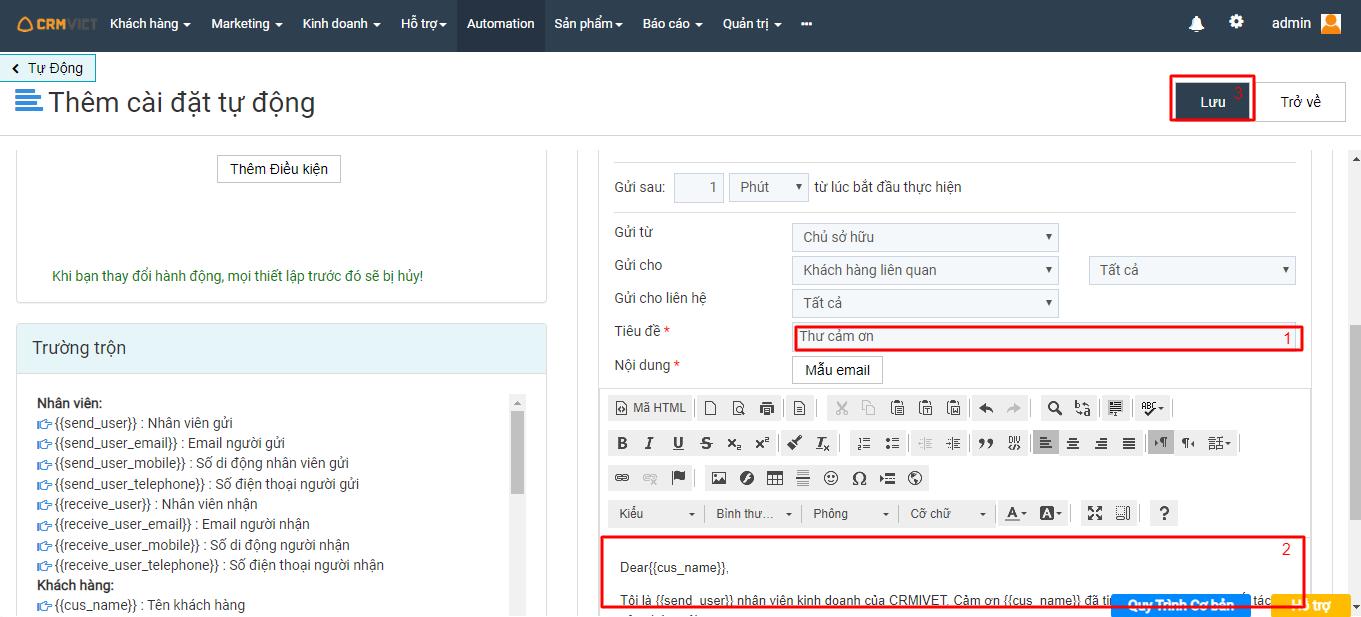 Nhập tiêu đề và nội dung Automation để gửi cho khách hàng